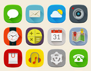 Freebie: Long Shadow Mobile Icons Set