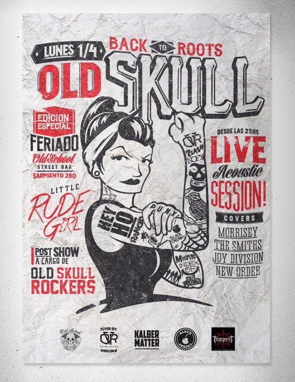 Old Skull.  Niña Flyer Rude