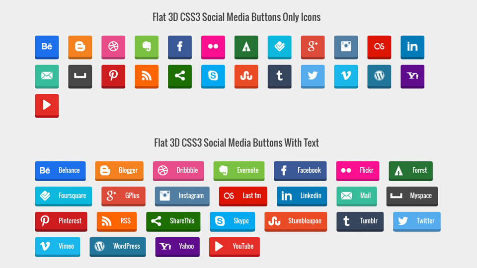 Freebie: CSS3 Social Media Button Set (Flat, 3D, Text and with Rollover Animation)