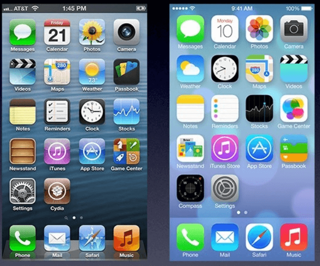 平面设计 -  Apple iOS 6 v Apple iOS 7