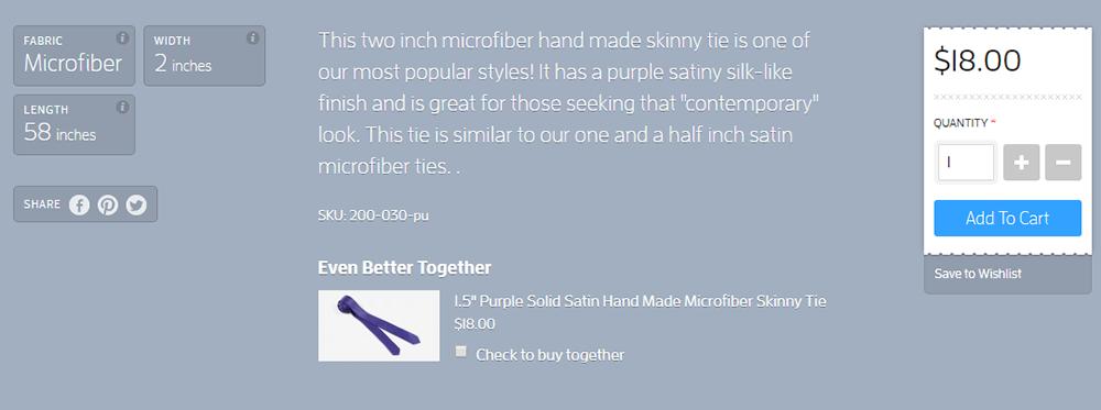 skinny ties product descriptions