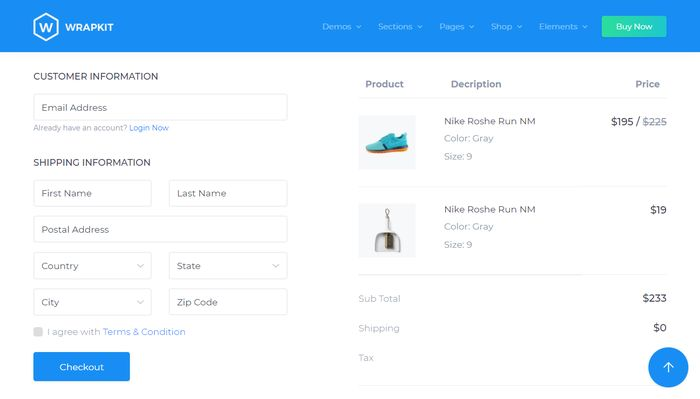 WrapKit Checkout for Bootstrap 4