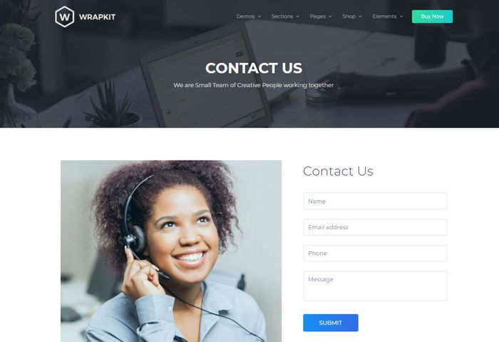 WrapKit Contact Page for BootStrap 4
