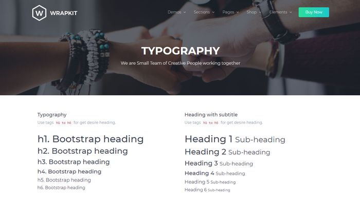 WrapKit typography for Bootstrap 4