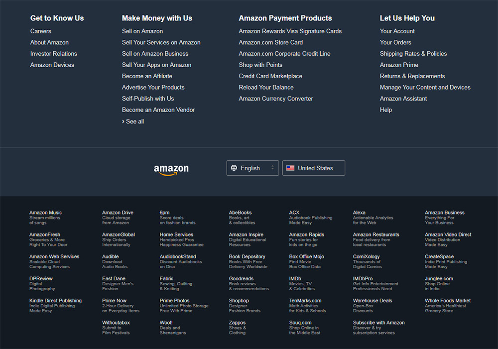 Amazon large footer