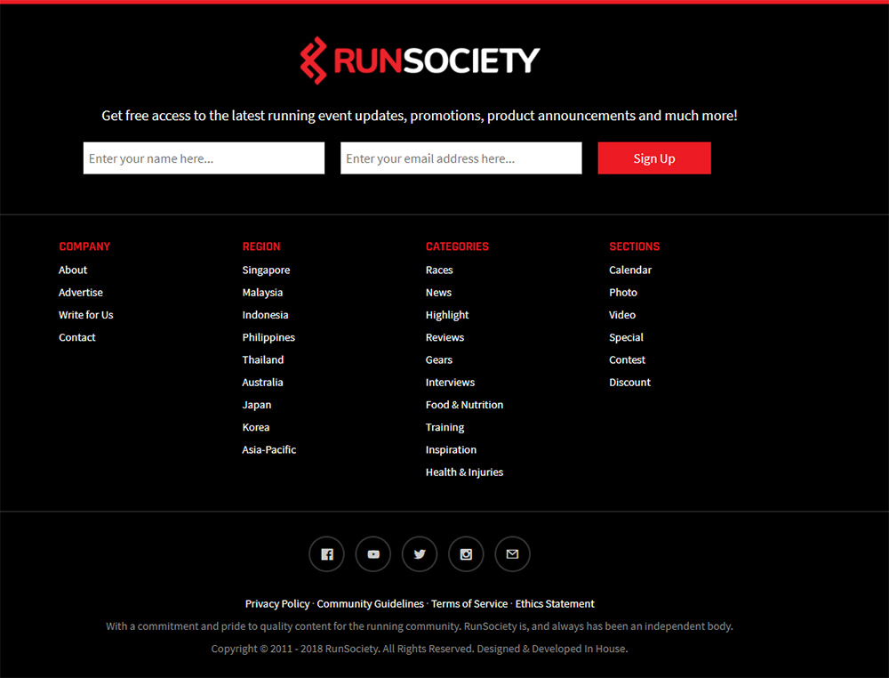RunSociety homepage