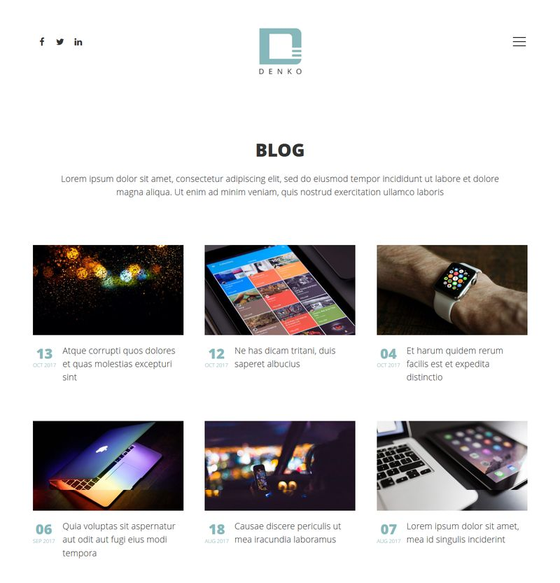 Denko WordPress Theme Blog Page
