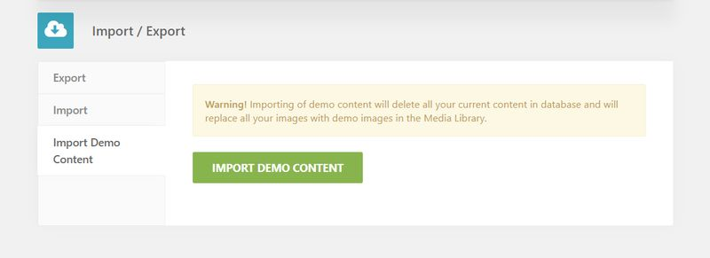 Denko WordPress Theme Import-Export Feature