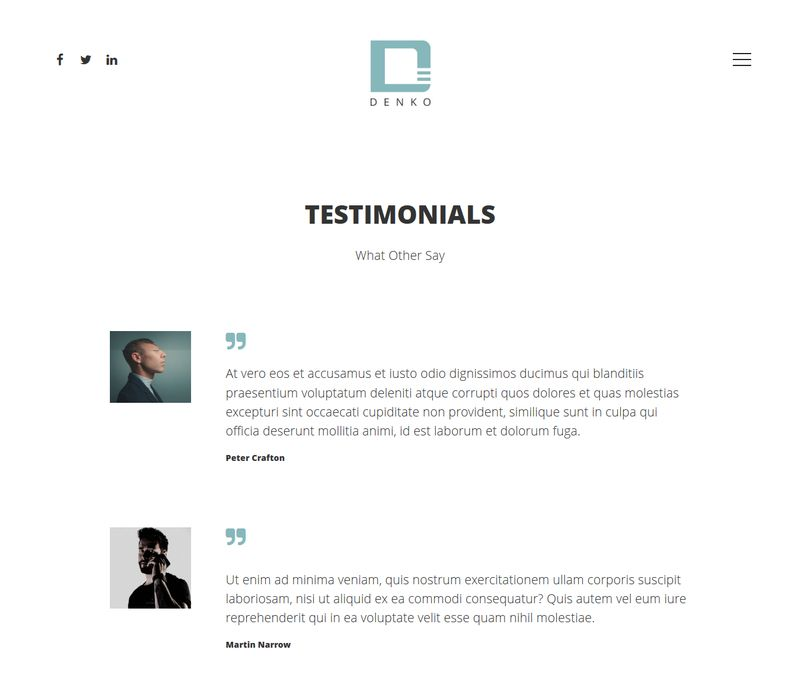 Denko WordPress Theme Testimonial Page