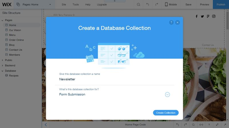 Wix Code Database Collection for Form Submission