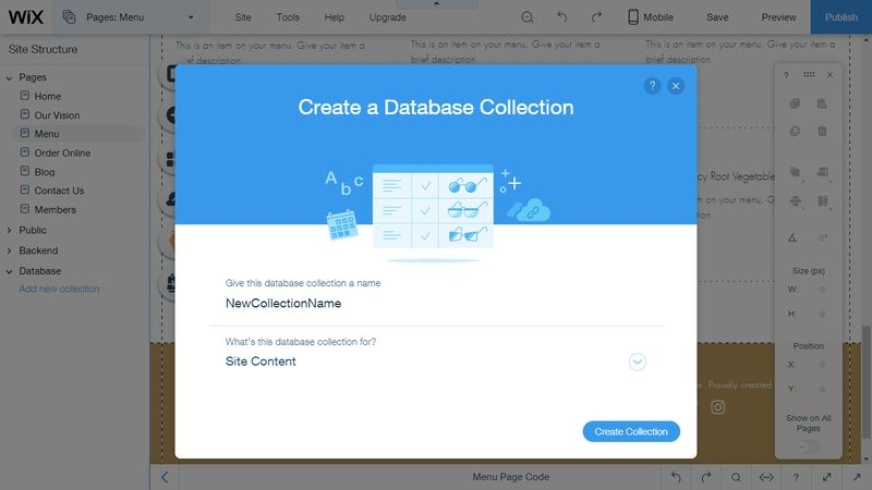 Wix Code Create Database Collections