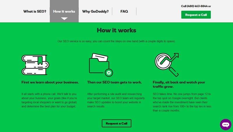 GoDaddy SEO Landing Page