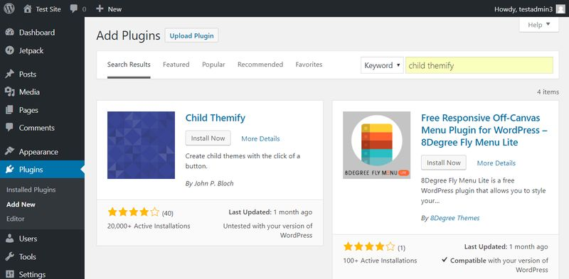 Install Child Themify WordPress Plugin