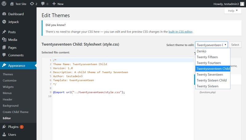 WordPress Theme Editor Select Child Theme