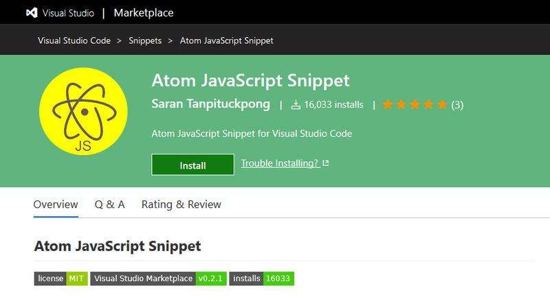 Atom JavaScript Snippet for Visual Studio Code