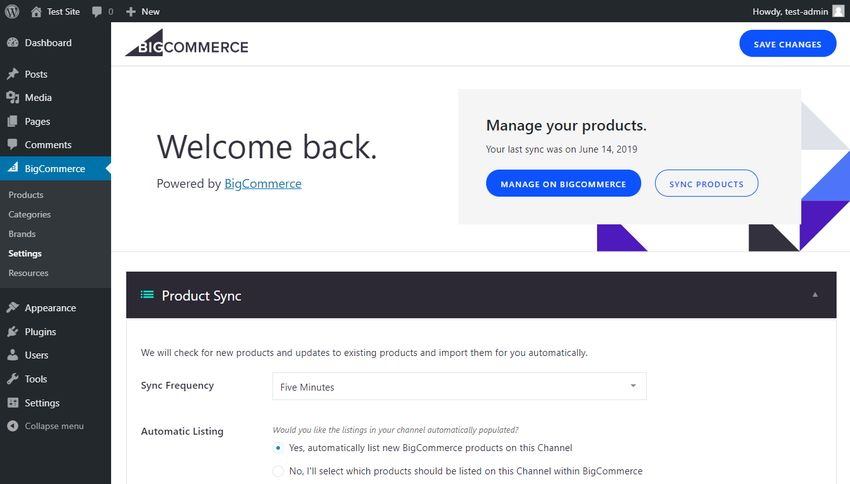 BigCommerce WordPress settings