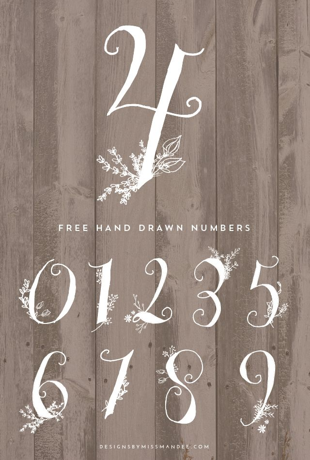 Hand-drawn numbers by Mandee Thomas