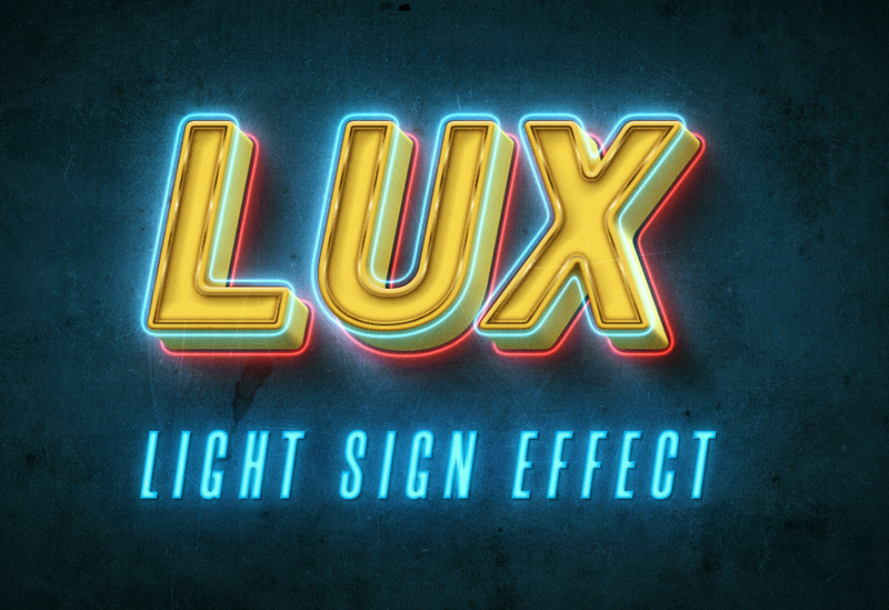Light Sign Text Effect by STATE7 STUDIO