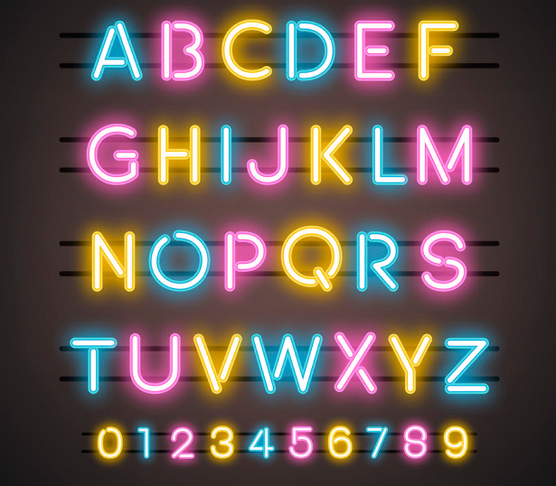 Neon Alphabet - best neon fonts