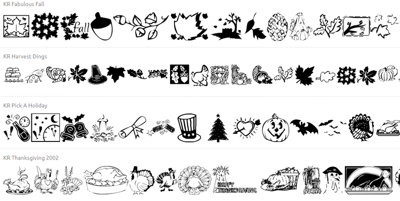 Icons fonts for Thanksgiving