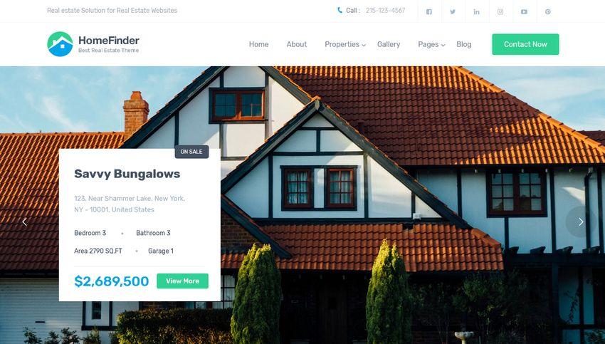 HomeFinder real estate WordPress theme