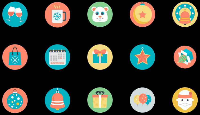 Christmas Celebration Icons Set
